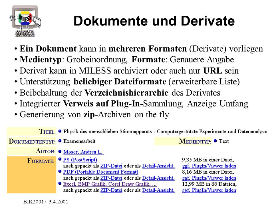 Dokumente und Derivate