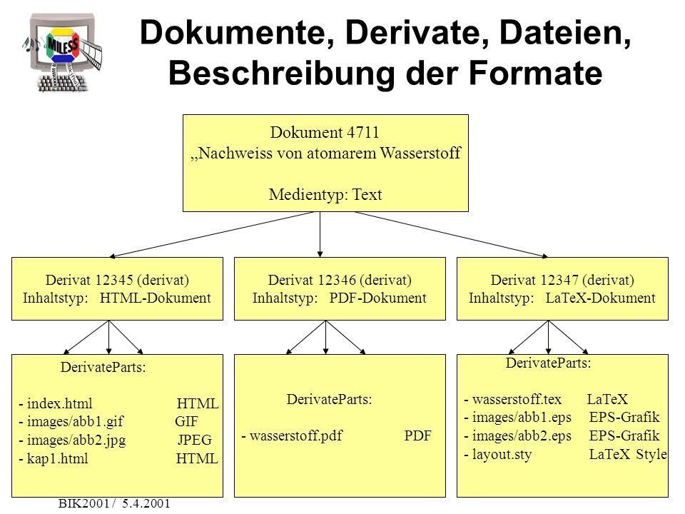 Dokumente, Derivate, Dateien, Beschreibung der Formate