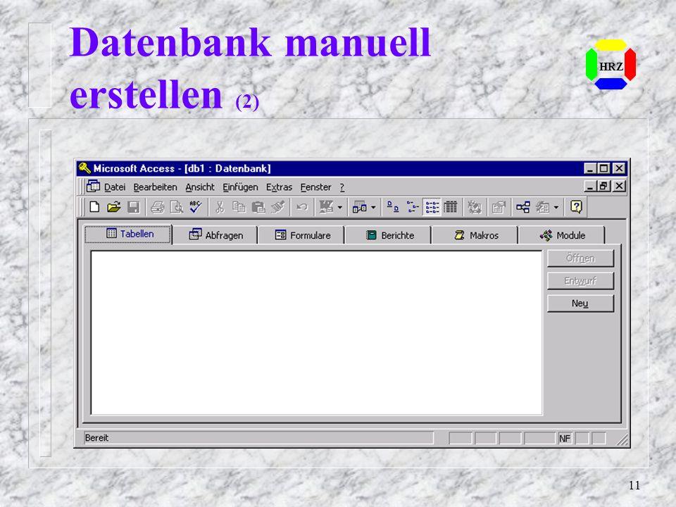 Datenbank manuell erstellen (2)