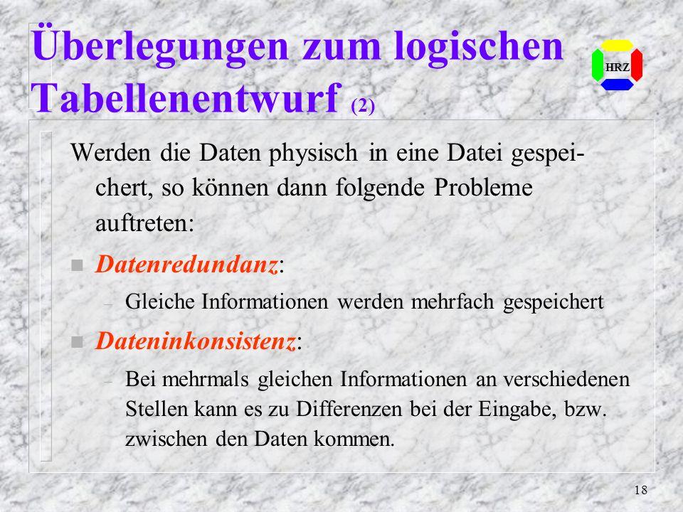 Überlegungen zum logischen Tabellenentwurf (2)