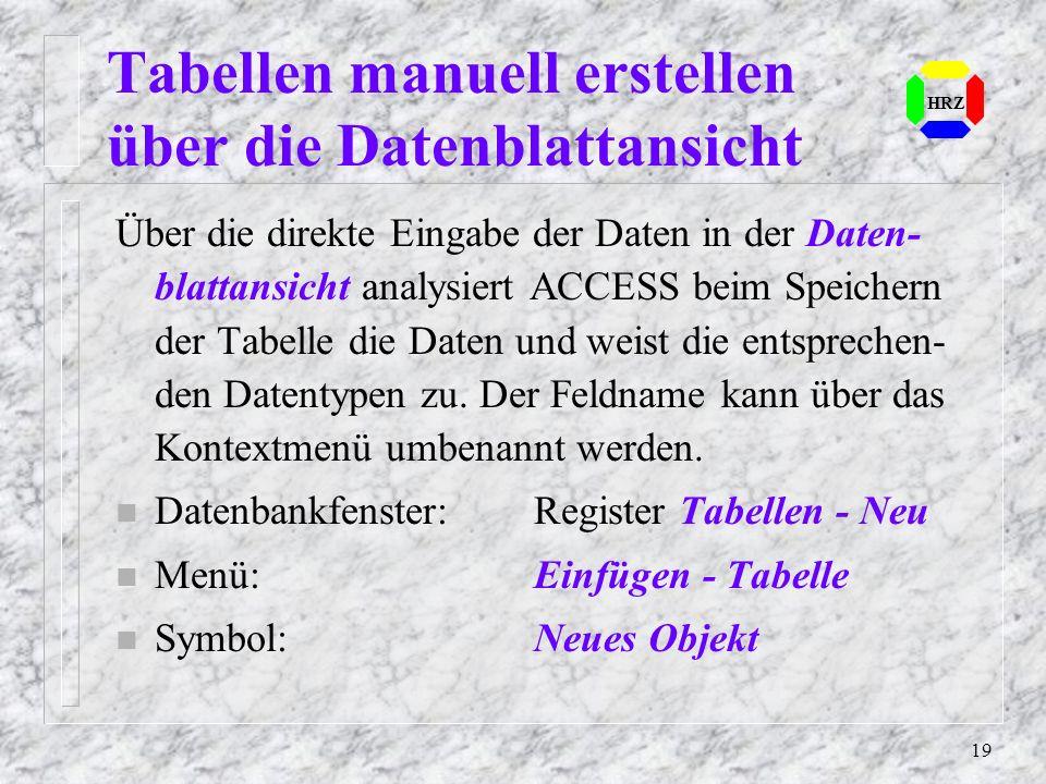 Tabellen manuell erstellen über die Datenblattansicht