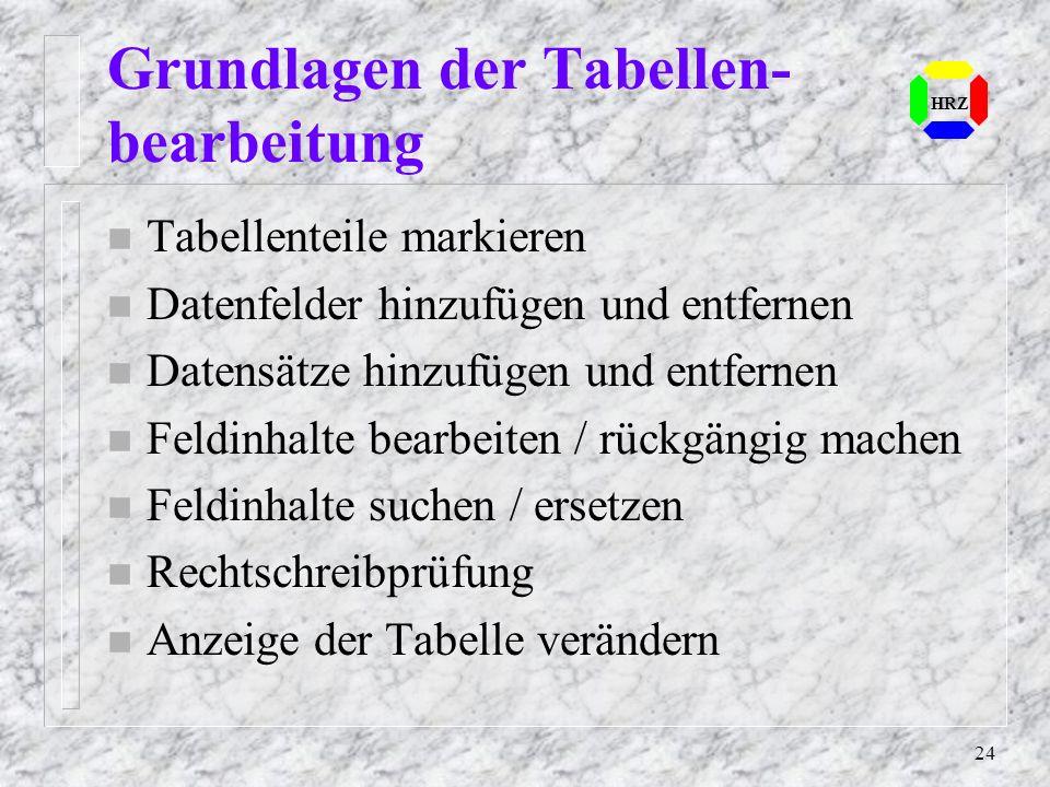 Grundlagen der Tabellen-bearbeitung