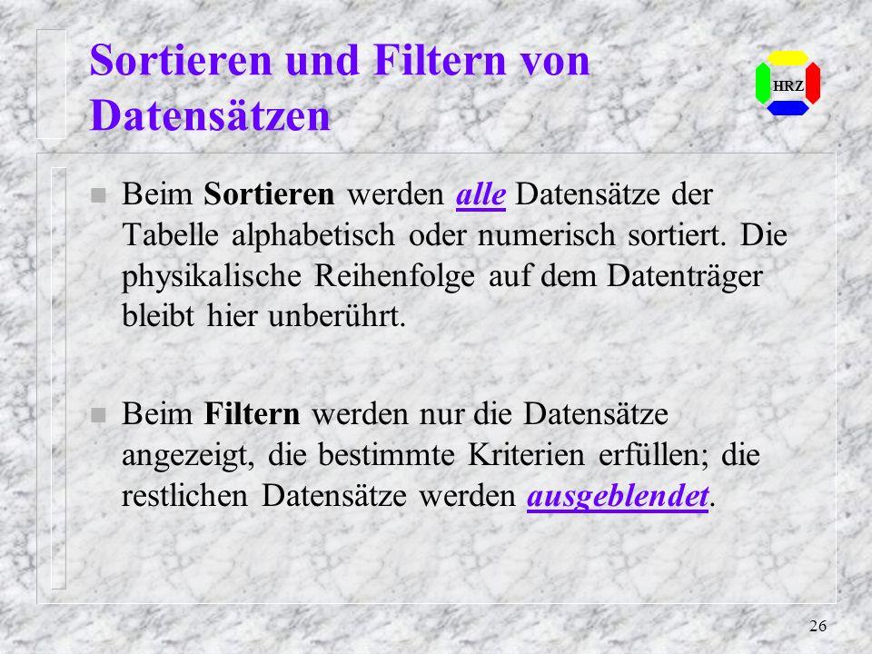 Sortieren und Filtern von Datensätzen
