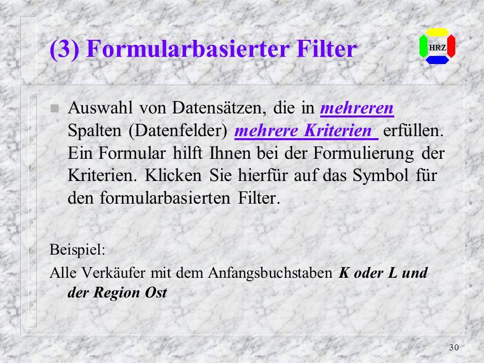 (3) Formularbasierter Filter