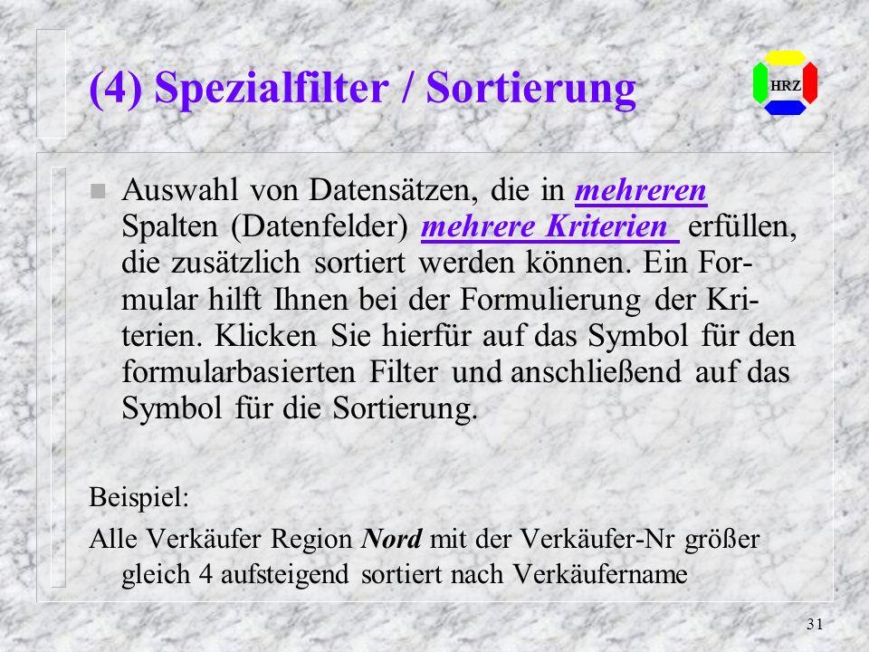 (4) Spezialfilter / Sortierung