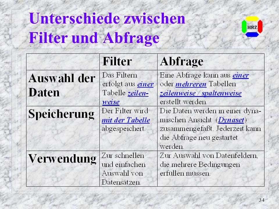 Unterschiede zwischen Filter und Abfrage