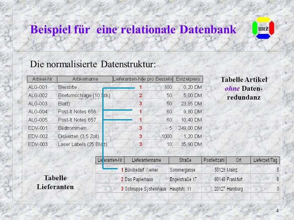 Beispiel für eine relationale Datenbank