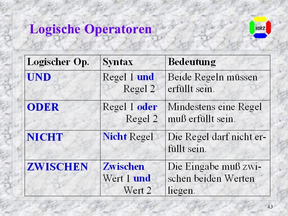 Logische Operatoren HRZ