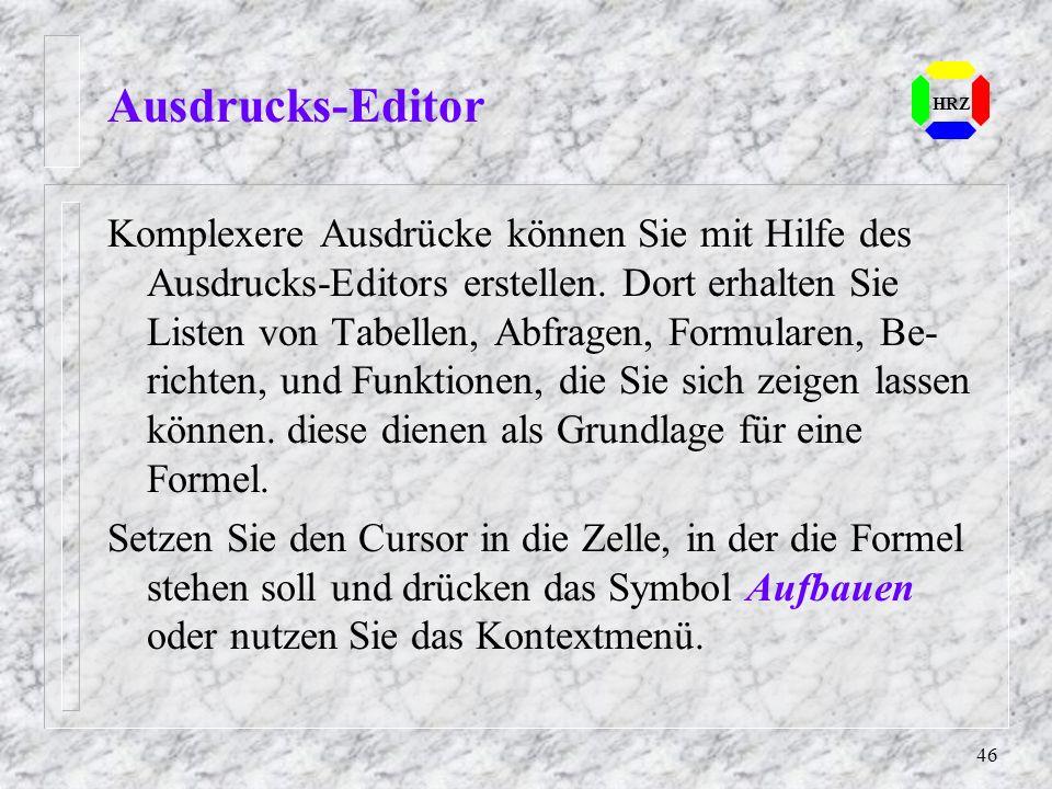 Ausdrucks-Editor HRZ.