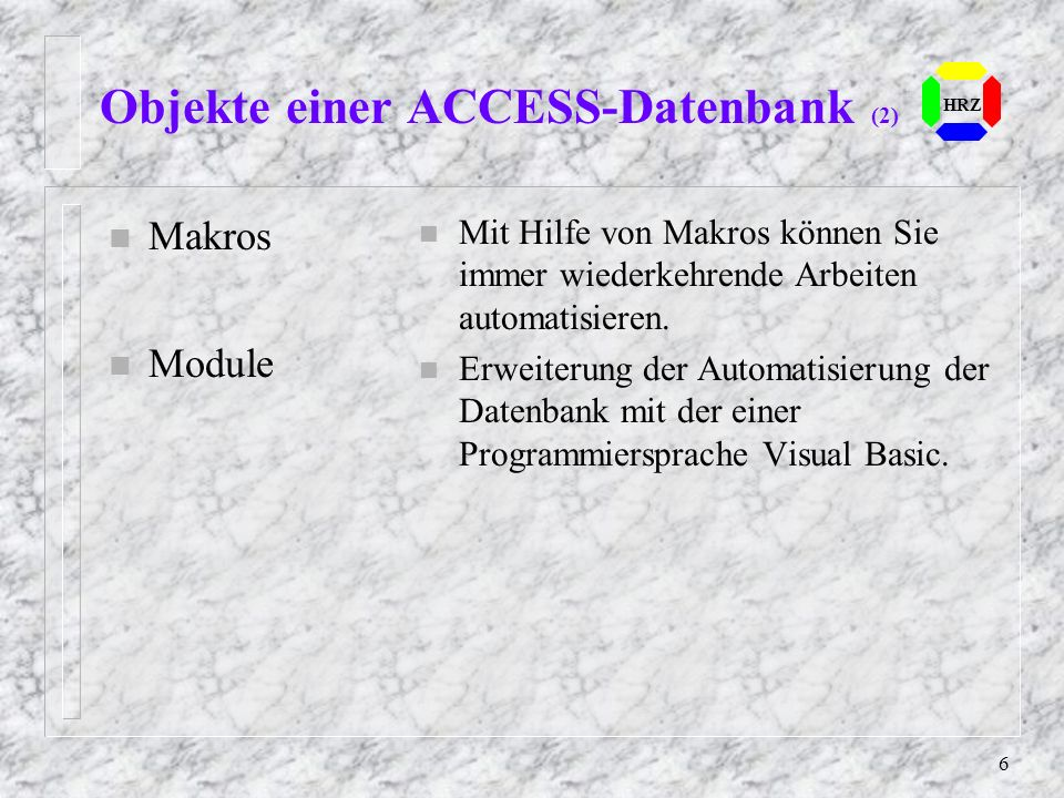 Objekte einer ACCESS-Datenbank (2)