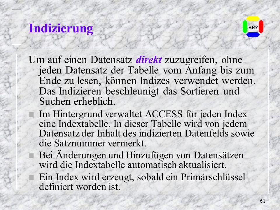 Indizierung HRZ.