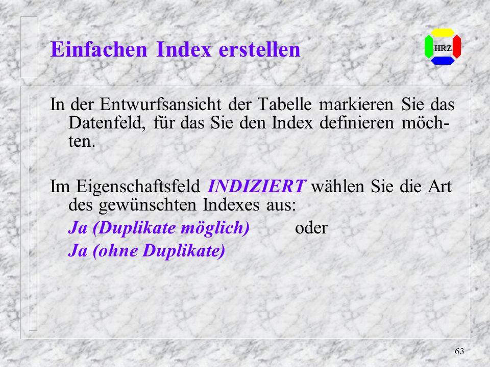 Einfachen Index erstellen