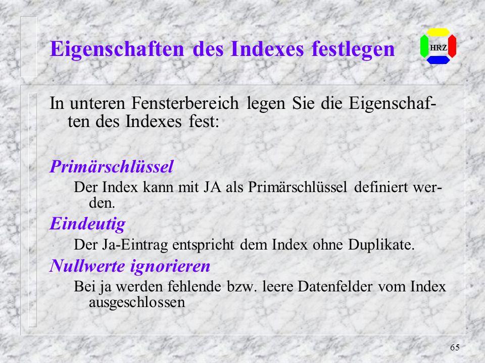 Eigenschaften des Indexes festlegen
