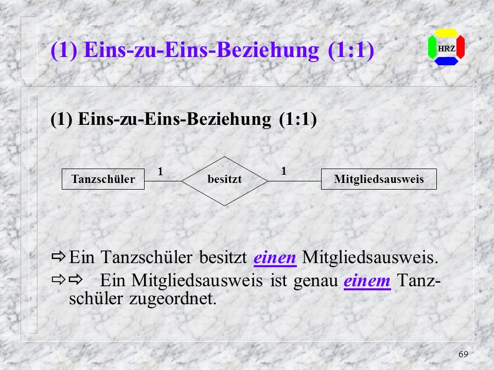(1) Eins-zu-Eins-Beziehung (1:1)