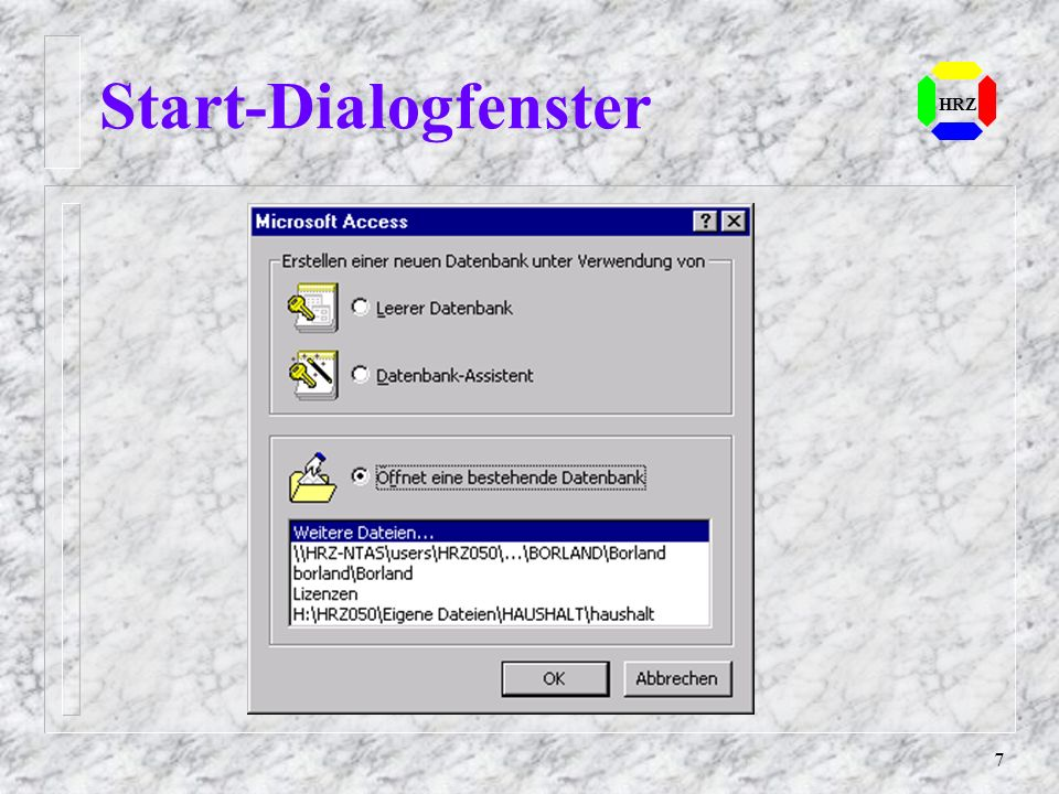 Start-Dialogfenster HRZ