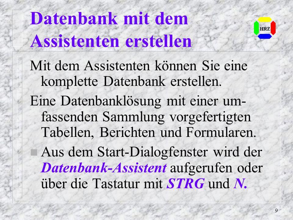 Datenbank mit dem Assistenten erstellen