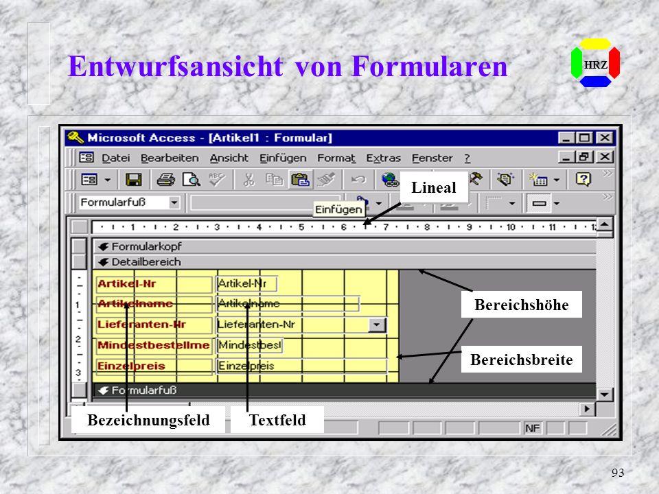 Entwurfsansicht von Formularen