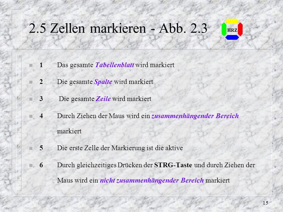 2.5 Zellen markieren - Abb. 2.3 HRZ. 1 Das gesamte Tabellenblatt wird markiert. 2 Die gesamte Spalte wird markiert.