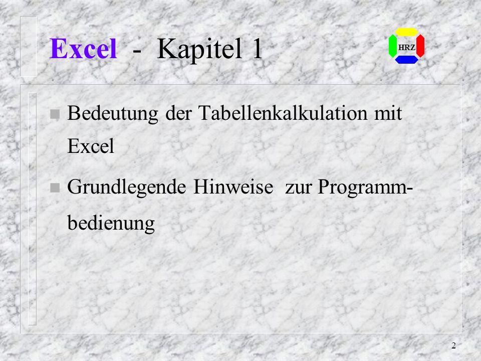 Excel - Kapitel 1 Bedeutung der Tabellenkalkulation mit Excel