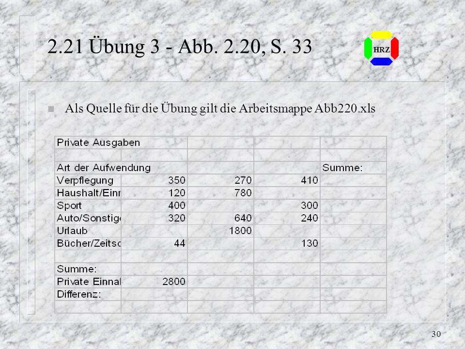 2.21 Übung 3 - Abb. 2.20, S. 33 HRZ Als Quelle für die Übung gilt die Arbeitsmappe Abb220.xls
