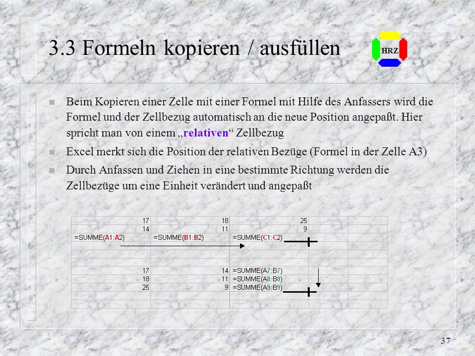 3.3 Formeln kopieren / ausfüllen