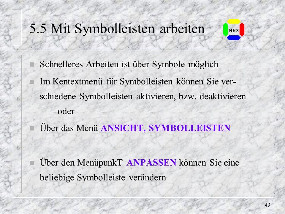 5.5 Mit Symbolleisten arbeiten