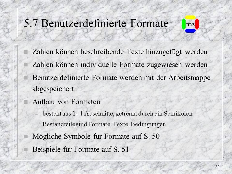 5.7 Benutzerdefinierte Formate