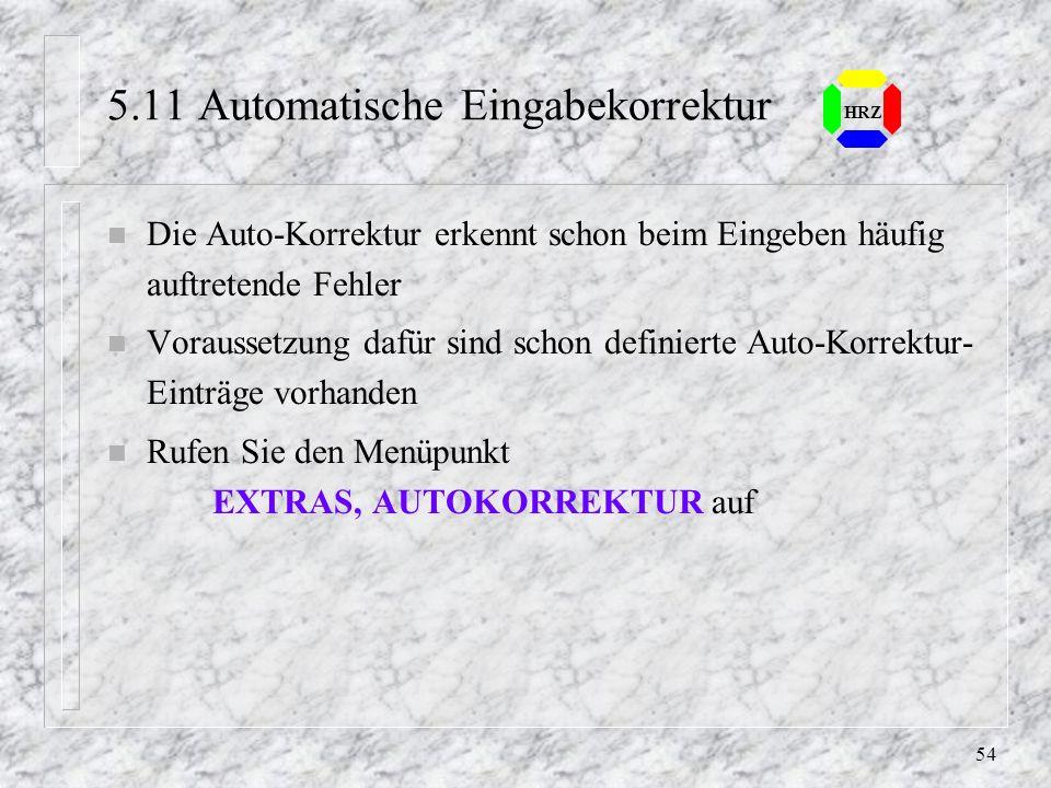 5.11 Automatische Eingabekorrektur