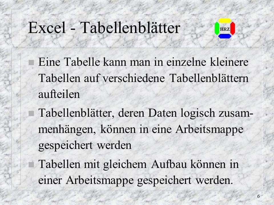 Excel - Tabellenblätter