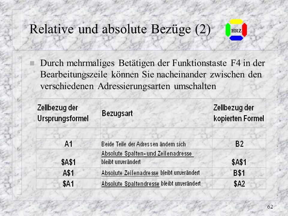 Relative und absolute Bezüge (2)