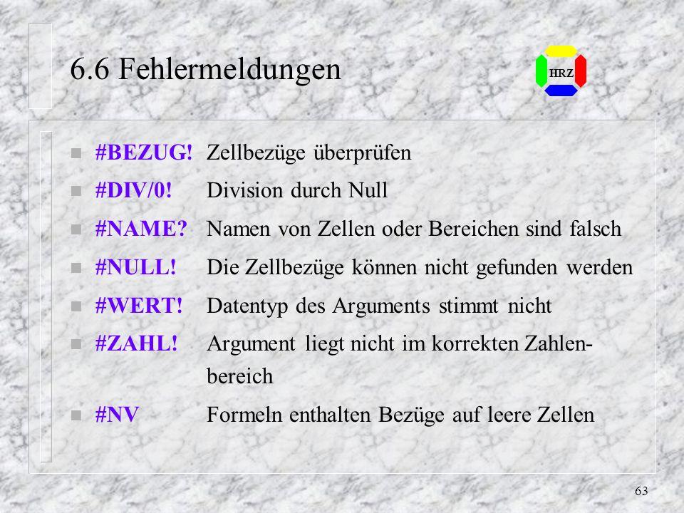 6.6 Fehlermeldungen #BEZUG! Zellbezüge überprüfen