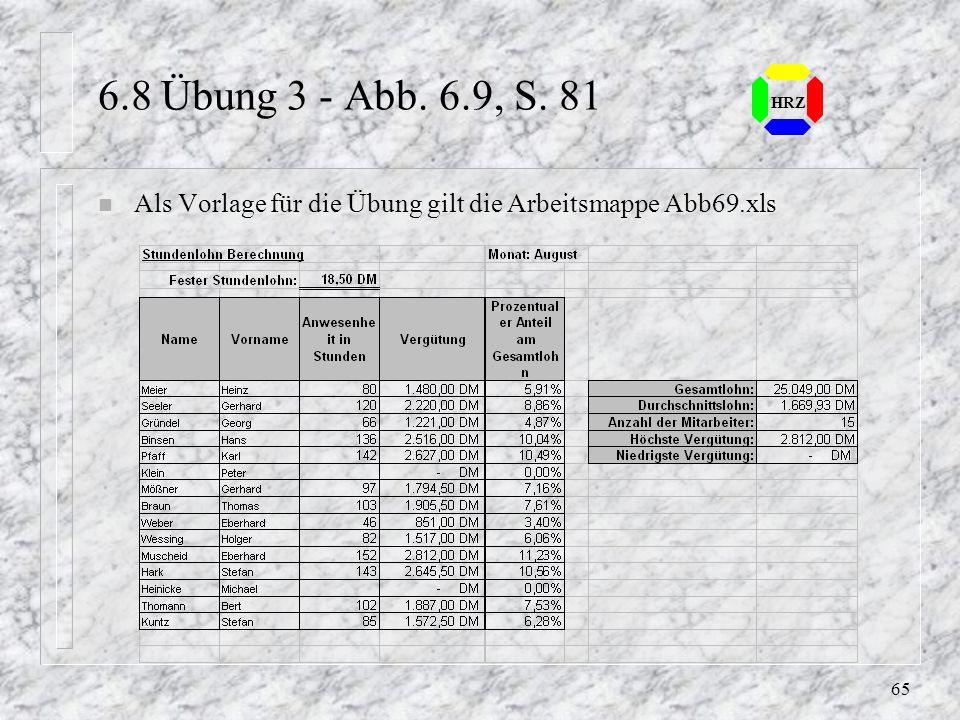 6.8 Übung 3 - Abb. 6.9, S. 81 HRZ Als Vorlage für die Übung gilt die Arbeitsmappe Abb69.xls