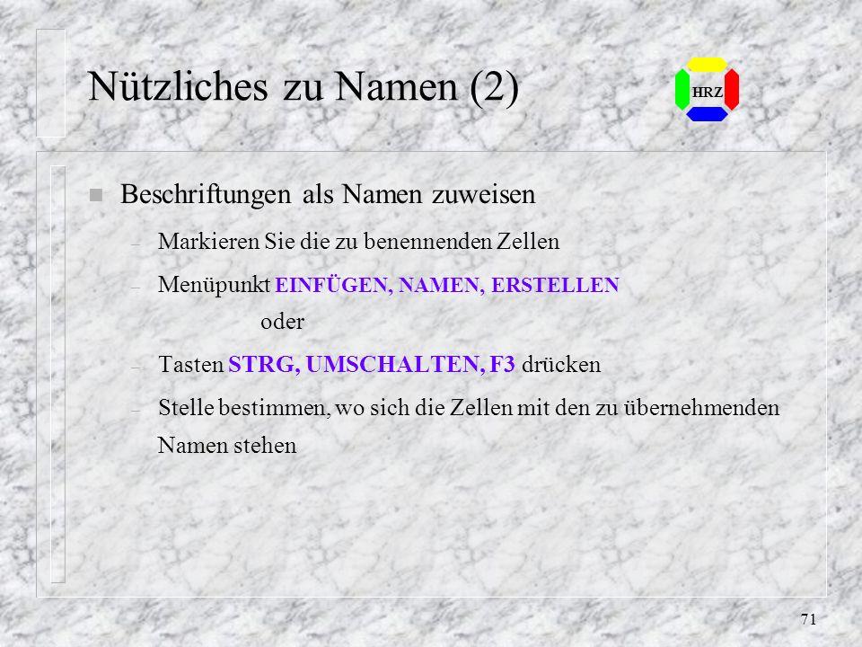 Nützliches zu Namen (2) Beschriftungen als Namen zuweisen