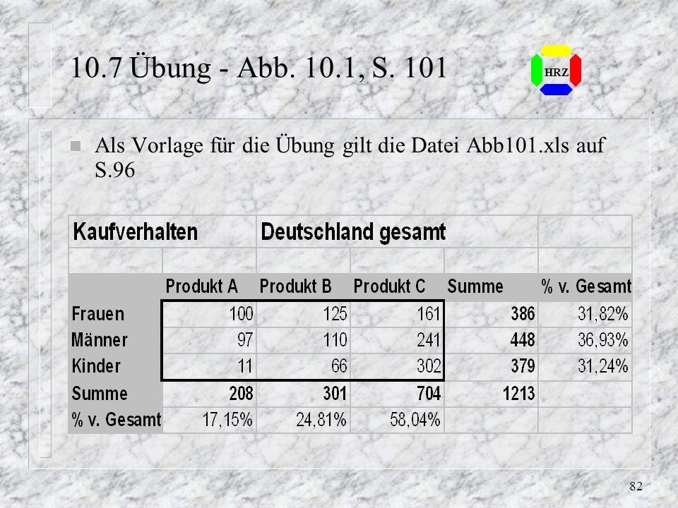 10.7 Übung - Abb. 10.1, S. 101 HRZ Als Vorlage für die Übung gilt die Datei Abb101.xls auf S.96