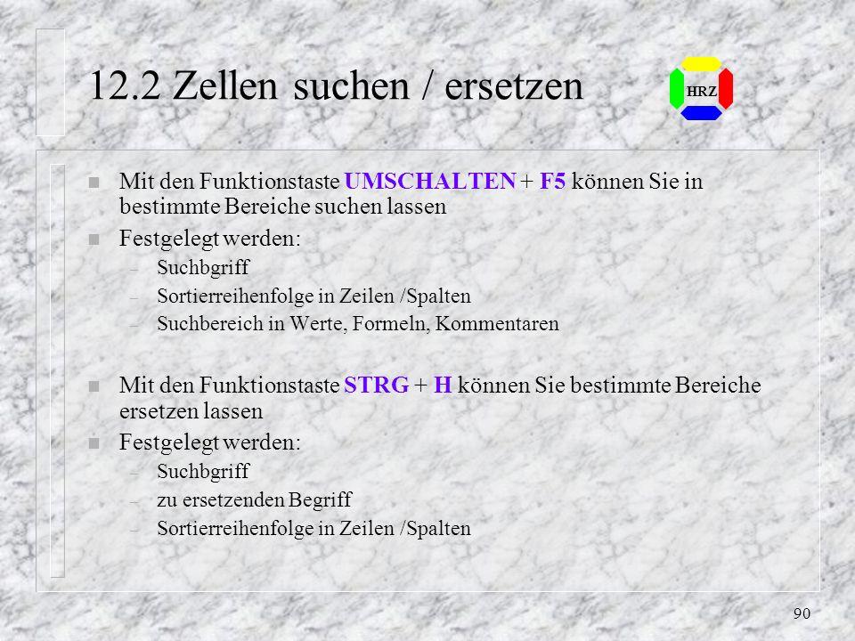 12.2 Zellen suchen / ersetzen