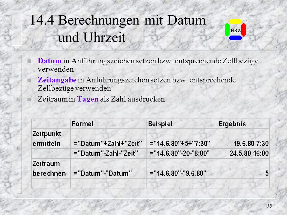 14.4 Berechnungen mit Datum und Uhrzeit