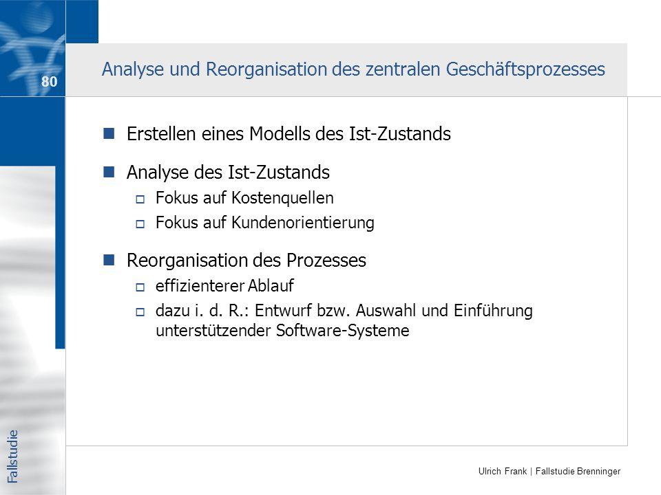 Analyse und Reorganisation des zentralen Geschäftsprozesses