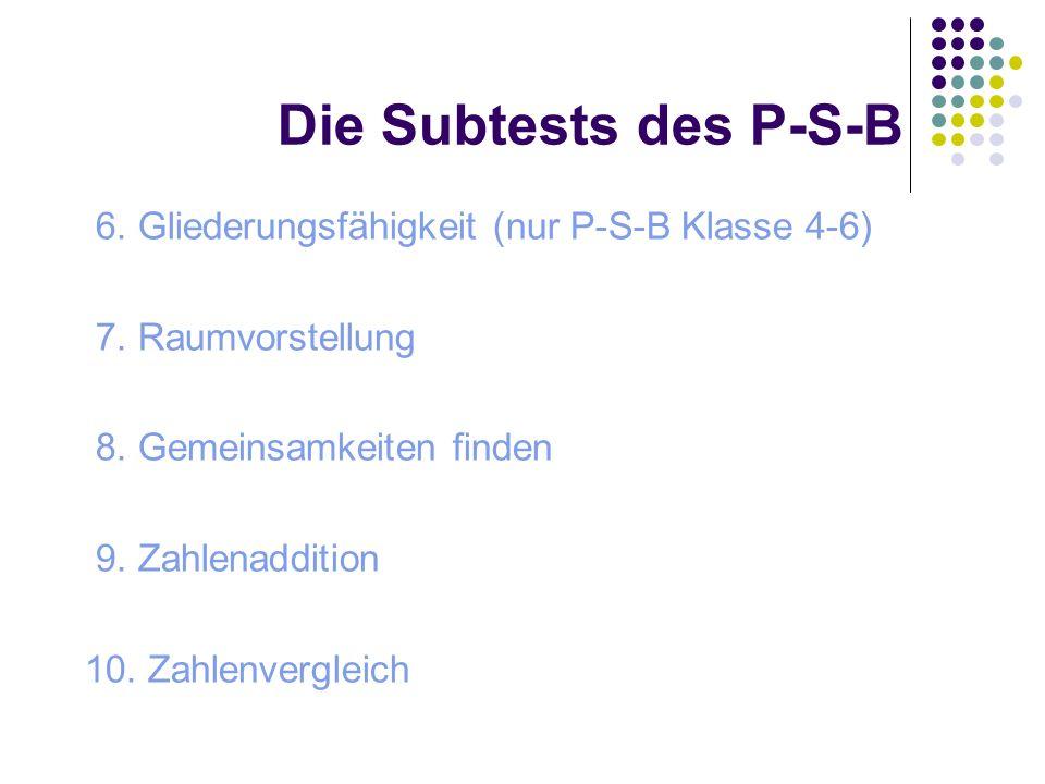 Die Subtests des P-S-B 6. Gliederungsfähigkeit (nur P-S-B Klasse 4-6)