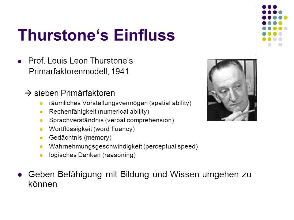 Thurstone's Einfluss Prof. Louis Leon Thurstone's. Primärfaktorenmodell, 1941.  sieben Primärfaktoren.