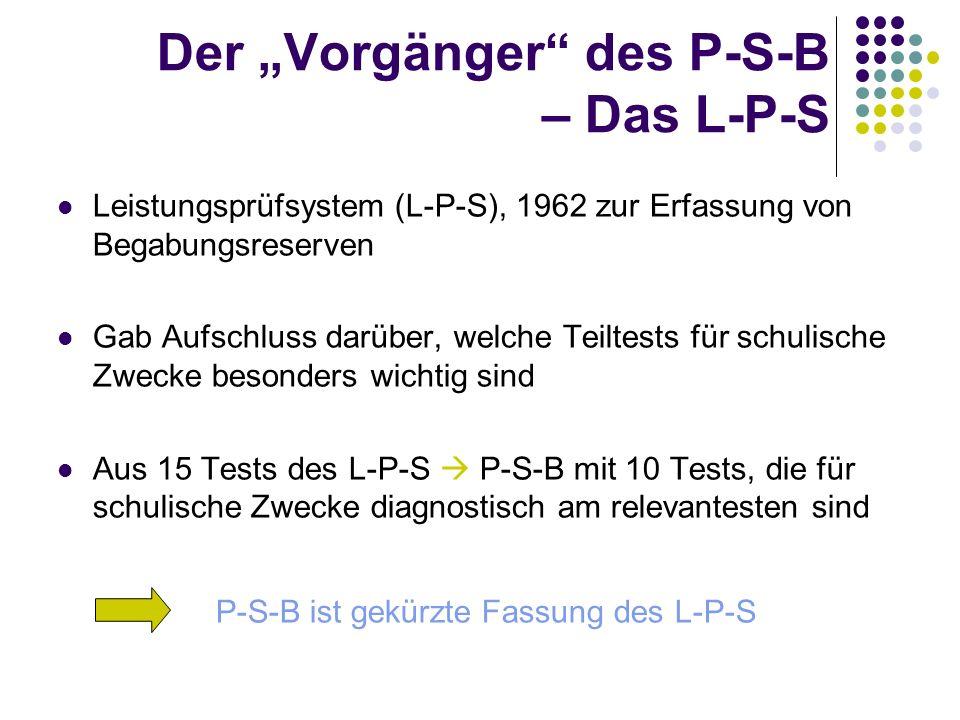 "Der ""Vorgänger des P-S-B – Das L-P-S"