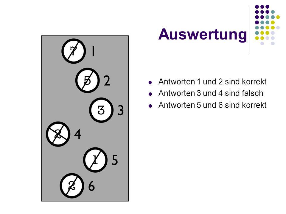 Auswertung Antworten 1 und 2 sind korrekt
