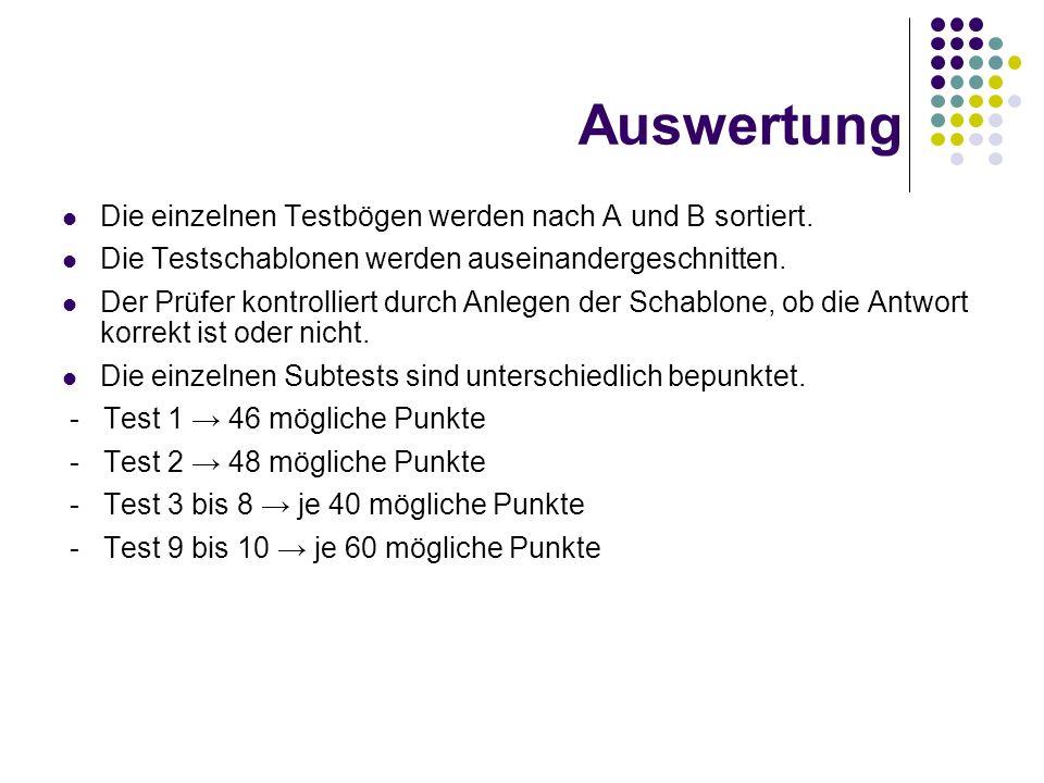 Auswertung Die einzelnen Testbögen werden nach A und B sortiert.