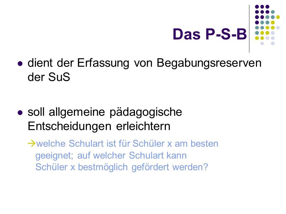 Das P-S-B dient der Erfassung von Begabungsreserven der SuS