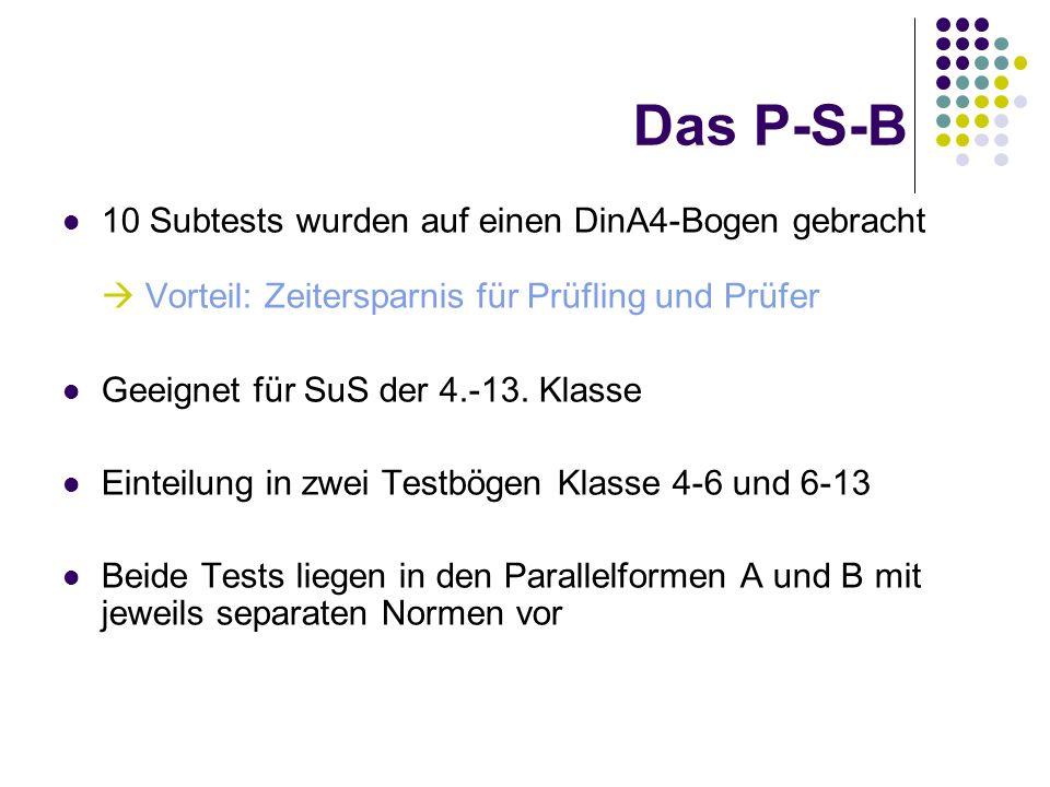 Das P-S-B 10 Subtests wurden auf einen DinA4-Bogen gebracht  Vorteil: Zeitersparnis für Prüfling und Prüfer.