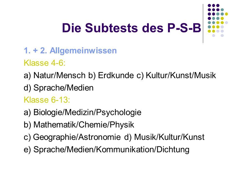 Die Subtests des P-S-B 1. + 2. Allgemeinwissen Klasse 4-6:
