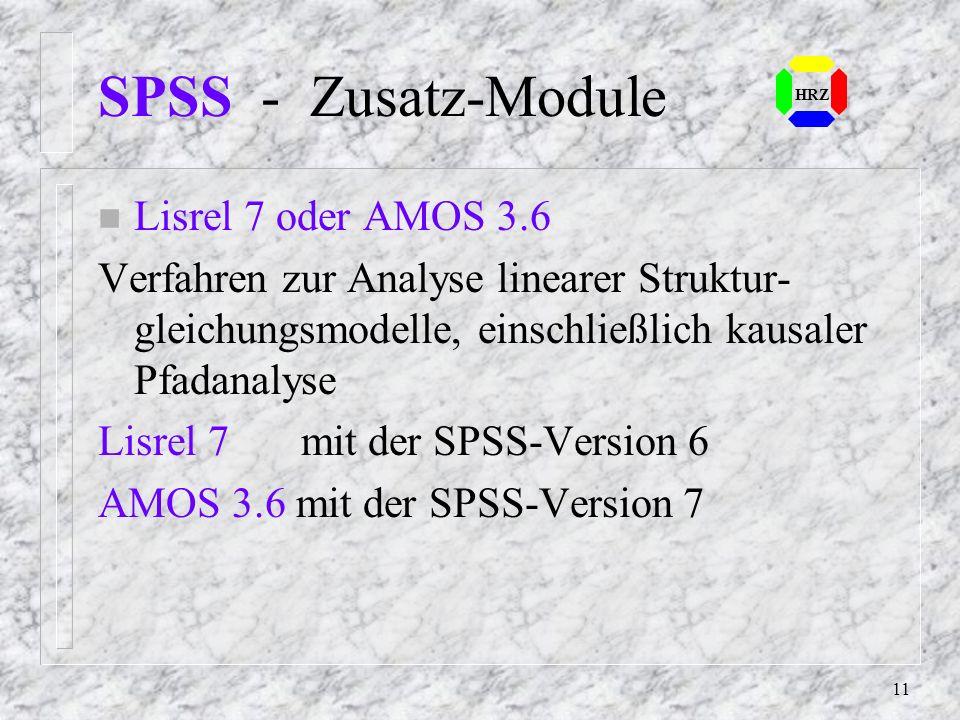 SPSS - Zusatz-Module Lisrel 7 oder AMOS 3.6