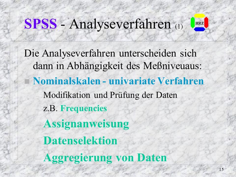 SPSS - Analyseverfahren (1)