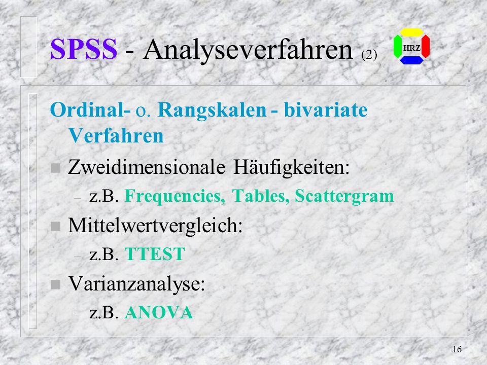 SPSS - Analyseverfahren (2)