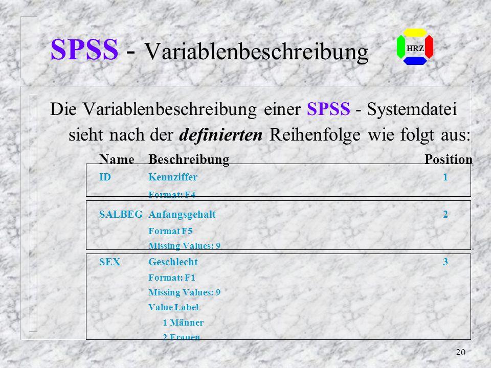SPSS - Variablenbeschreibung