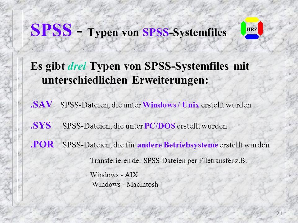 SPSS - Typen von SPSS-Systemfiles